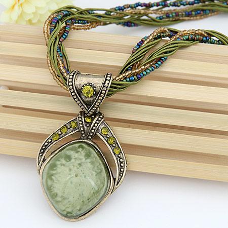 Harz Halskette, Zinklegierung, mit Strass & Harz, Tropfen, antike Bronzefarbe plattiert, frei von Blei & Kadmium, 400x68x40mm, verkauft per ca. 15.75 ZollInch Strang