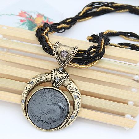 Harz Halskette, Zinklegierung, mit Glas-Rocailles & Harz, flache Runde, antike Bronzefarbe plattiert, mit Strass, frei von Blei & Kadmium, 400x76x50mm, verkauft per ca. 15.75 ZollInch Strang