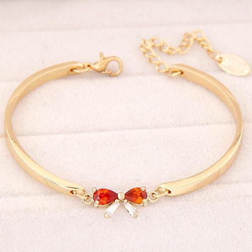 Messing Armband, mit kubischer Zirkonia, mit Verlängerungskettchen von 5cm, Schleife, goldfarben plattiert, frei von Blei & Kadmium, 170mm, verkauft per ca. 6.69 ZollInch Strang