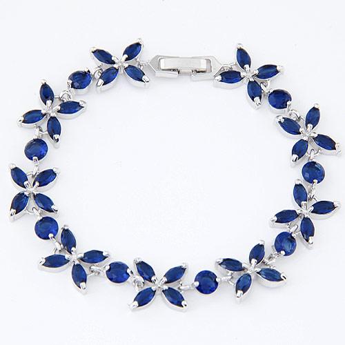 Zirkonia Armband, Messing, mit kubischer Zirkonia, Blatt, platiniert, blau, frei von Blei & Kadmium, 14mm, verkauft per ca. 6.3 ZollInch Strang