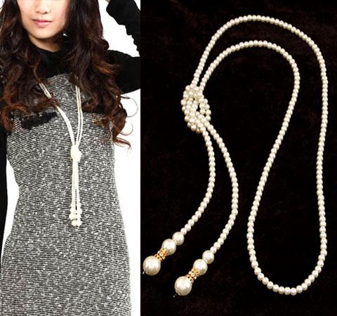 ABS-Kunststoff-Perlen Pullover Halskette, mit Zinklegierung, goldfarben plattiert, weiß, 1000x6mm, verkauft per ca. 39.37 ZollInch Strang