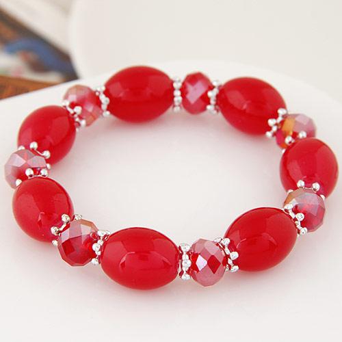Acryl Armbänder, mit Kristall, oval, verchromt, facettierte & Volltonfarbe, rot, 12mm, verkauft per ca. 6.89 ZollInch Strang