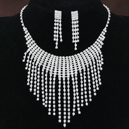 Braut Schmucksets, Ohrring & Halskette, Zinklegierung, Platinfarbe platiniert, für Braut, frei von Blei & Kadmium, 400x90x9mm, Länge:ca. 15.75 ZollInch, verkauft von setzen