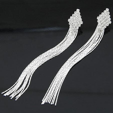 Mode-Fringe-Ohrringe, Zinklegierung, mit Strass, Platinfarbe platiniert, frei von Blei & Kadmium, 116x14mm, verkauft von Paar
