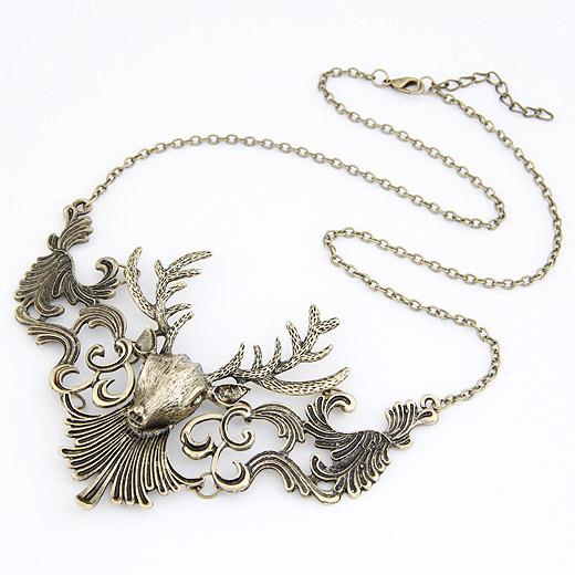 Mode Statement Halskette, Zinklegierung, mit Verlängerungskettchen von 5cm, Hirsch, antike Bronzefarbe plattiert, frei von Blei & Kadmium, 450x118x80mm, verkauft per ca. 17.72 ZollInch Strang