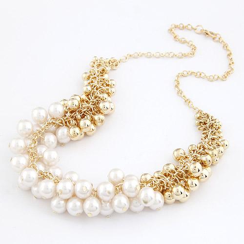 Plastik-Perlenkette, Zinklegierung, mit ABS-Kunststoff-Perlen, goldfarben plattiert, Oval-Kette, weiß, frei von Blei & Kadmium, 450mm, verkauft per ca. 17.72 ZollInch Strang