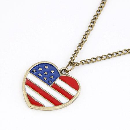 Zinklegierung Pullover Halskette, Herz, antike Bronzefarbe plattiert, Handy USA Flagge Muster & Twist oval & Emaille, frei von Blei & Kadmium, 700x27mm, verkauft per ca. 27.56 ZollInch Strang