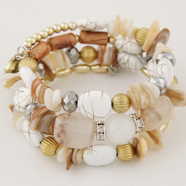 Memory Wire Armband, Muschel, mit Kristall, 3-Strang, weiß, 30mm, verkauft per ca. 6.5 ZollInch Strang