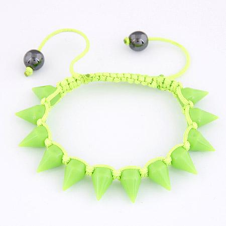 Acryl Woven Ball Armband, mit Nylonschnur, Kegel, grün, 170*10mm, Länge:ca. 6.69 ZollInch, verkauft von PC