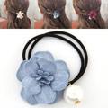 Pferdeschwanz-Halter, Gummiband, mit Seidenspinnerei, Blume, blau, 45mm, verkauft von PC