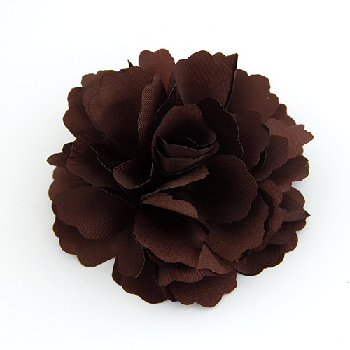 Blume Haarspange Brosche, Zinklegierung, mit Stoff, braun, frei von Blei & Kadmium, 72x72mm, verkauft von PC