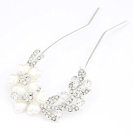 Haarnadeln, Zinklegierung, mit ABS-Kunststoff-Perlen, Blume, Platinfarbe platiniert, mit Strass, frei von Blei & Kadmium, 57mm, verkauft von PC