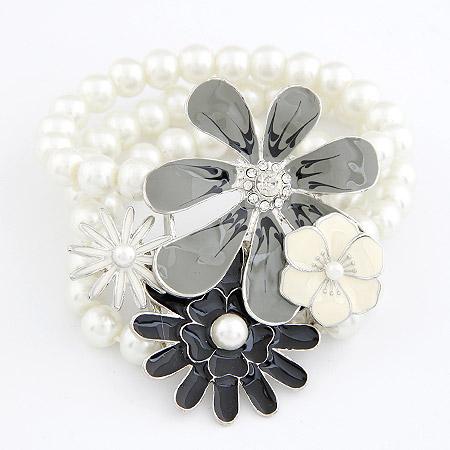 Harz Armbänder, Zinklegierung, mit Harz-Perle, Blume, Platinfarbe platiniert, 3-Strang & Emaille, frei von Blei & Kadmium, 68mm, verkauft per ca. 6.3 ZollInch Strang