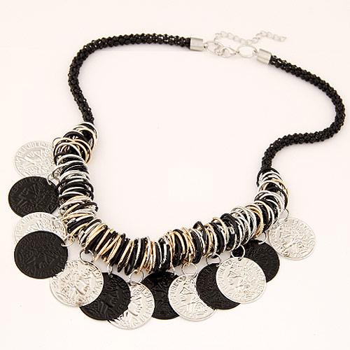Vintage Halskette-Anweisung, Zinklegierung, flache Runde, goldfarben plattiert, mit Bemaltung, schwarz, frei von Blei & Kadmium, 460x160x45mm, verkauft per ca. 18.11 ZollInch Strang
