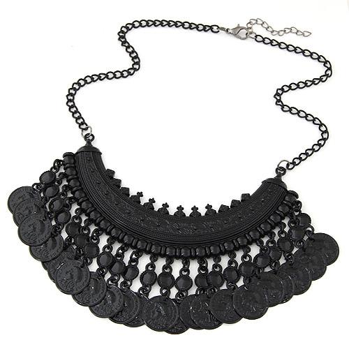 Vintage Halskette-Anweisung, Zinklegierung, mit Verlängerungskettchen von 5cm, flache Runde, Spritzlackierung, Twist oval, schwarz, frei von Blei & Kadmium, 400mm, verkauft per ca. 15.75 ZollInch Strang