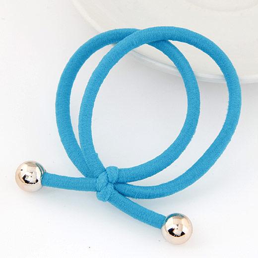 Elastisches Haarband, Gummiband, mit Verkupferter Kunststoff, blau, 3-5mm, verkauft von PC