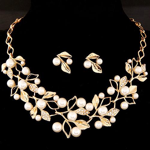 Zinklegierung Schmucksets, Ohrring & Halskette, mit ABS-Kunststoff-Perlen & Strass, Blatt, goldfarben plattiert, frei von Blei & Kadmium, 400x150x40mm, 22x18mm, Länge:ca. 15.75 ZollInch, verkauft von setzen
