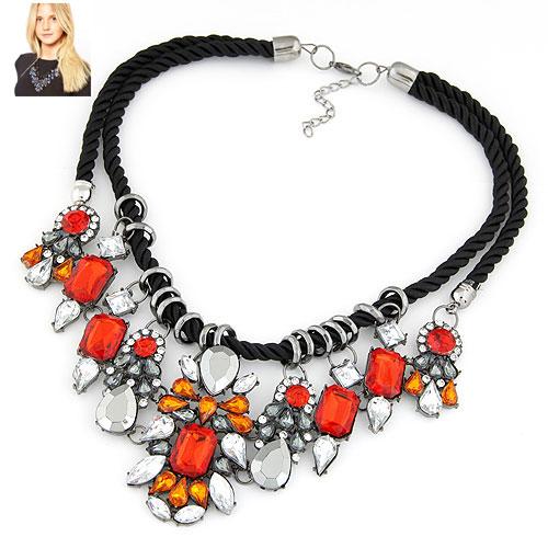 Mode Statement Halskette, Zinklegierung, mit Nylonschnur, metallschwarz plattiert, frei von Blei & Kadmium, 400x150x75mm, verkauft per ca. 15.75 ZollInch Strang