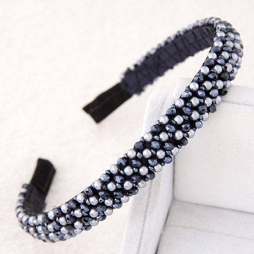 Haarreif, Zinklegierung, mit Kristall, schwarzblau, frei von Blei & Kadmium, 140x130x14mm, verkauft von PC