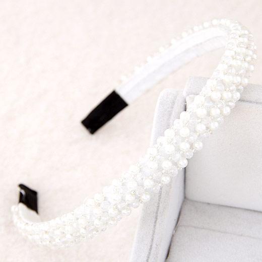 Haarreif, Zinklegierung, mit ABS-Kunststoff-Perlen & Kristall, weiß, 140x130x14mm, verkauft von PC