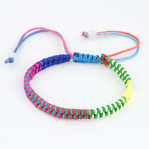 Mode Wachsschnur Armbänder, Gewachsten Baumwollkordel, einstellbar, farbenfroh, 175mm, verkauft per ca. 6.89 ZollInch Strang