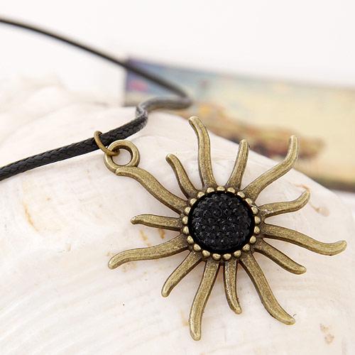 Gewachste Nylon Halsband, Zinklegierung, mit Gewachste Nylonschnur, Sonne, antike Bronzefarbe plattiert, frei von Blei & Kadmium, 420x45mm, verkauft per ca. 16.54 ZollInch Strang