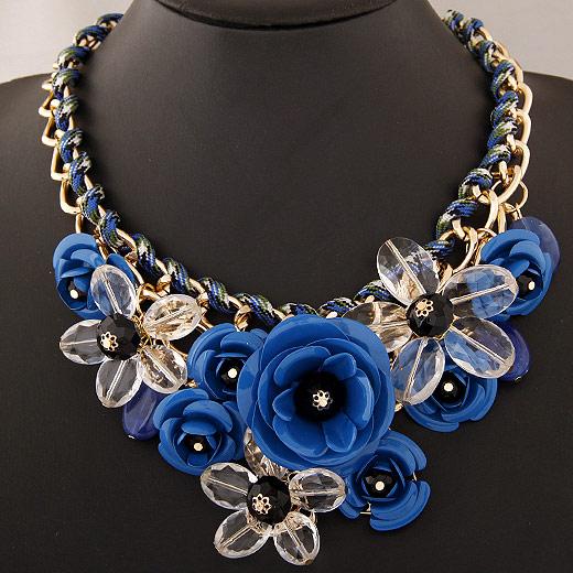 Kette Woven Halskette, Zinklegierung, mit Acryl, Blume, goldfarben plattiert, Twist oval, tiefblau, frei von Blei & Kadmium, 400x120x80mm, verkauft per ca. 15.75 ZollInch Strang