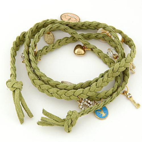 Mode Samtschnur Armbänder, Zinklegierung, mit Wollschnur, goldfarben plattiert, Armband  Bettelarmband & 4-Strang & Emaille, grün, frei von Blei & Kadmium, 820x20mm, verkauft per ca. 32.28 ZollInch Strang