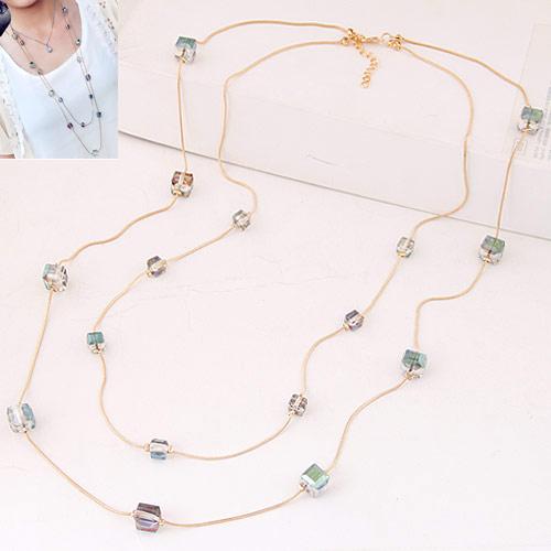 Zinklegierung Pullover Halskette, mit Kristall, Würfel, goldfarben plattiert, frei von Blei & Kadmium, 850x10x6mm, verkauft per ca. 33.46 ZollInch Strang