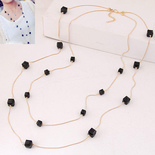 Eisen Pullover Halskette, mit Kristall, mit Verlängerungskettchen von 5cm, goldfarben plattiert, 2 strängig, schwarz, frei von Blei & Kadmium, 10x6mm, verkauft per ca. 33.5 ZollInch Strang