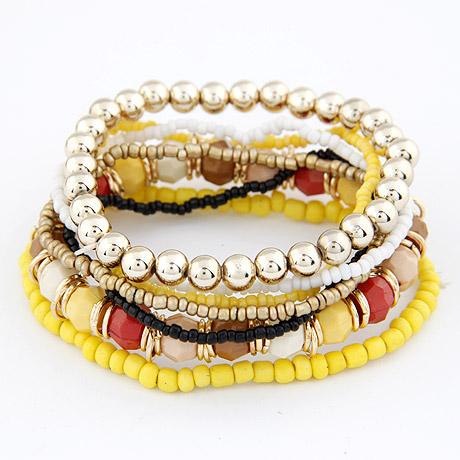 Zinklegierung Armband-Set, mit Glas-Rocailles, goldfarben plattiert, 7-Strang, gelb, frei von Blei & Kadmium, 170mm, Länge:ca. 6.69 ZollInch, 7SträngeStrang/setzen, verkauft von setzen