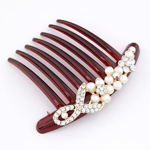 Dekoratives Haarkämmchen, Harz, mit ABS-Kunststoff-Perlen & Zinklegierung, goldfarben plattiert, mit Strass, 88x100mm, verkauft von PC