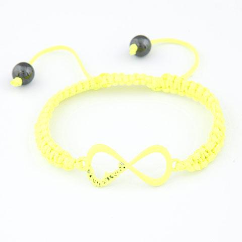 Zinklegierung Woven Ball Armbänder, mit Nylonschnur, Unendliche, Spritzlackierung, einstellbar, gelb, frei von Blei & Kadmium, 170x36x14mm, verkauft per ca. 6.69 ZollInch Strang