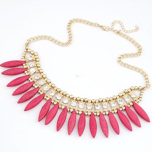 Mode Türkis Halskette, Zinklegierung, mit Synthetische Türkis & Strass, goldfarben plattiert, frei von Blei & Kadmium, 400x140x46mm, verkauft per ca. 15.75 ZollInch Strang