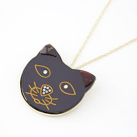 Zinklegierung Pullover Halskette, mit Harz, Katze, goldfarben plattiert, frei von Blei & Kadmium, 700x46x49mm, verkauft per ca. 27.56 ZollInch Strang