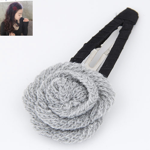 Klick Klack Spange, Zinklegierung, mit Wolle, Blume, Platinfarbe platiniert, grau, frei von Blei & Kadmium, 100x48mm, verkauft von PC