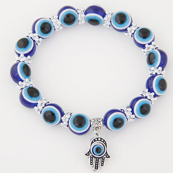 Hamsa Armbänder, Zinklegierung, mit Harz, antik silberfarben plattiert, Islam Schmuck & böser Blick- Muster, blau, frei von Blei & Kadmium, 170x10mm, verkauft per ca. 6.69 ZollInch Strang