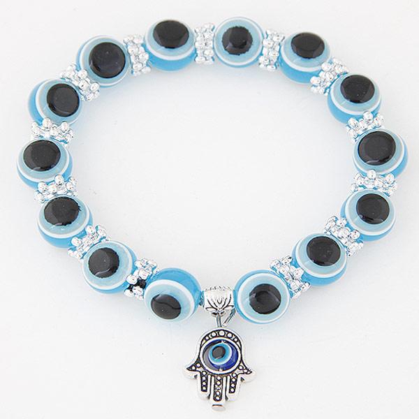 Hamsa Armbänder, Zinklegierung, mit Harz, antik silberfarben plattiert, böser Blick- Muster, himmelblau, frei von Blei & Kadmium, 170x10mm, verkauft per ca. 6.69 ZollInch Strang
