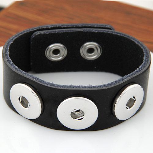 Snap-Knopf-Armband, Zinklegierung, mit Kuhhaut, Platinfarbe platiniert, schwarz, frei von Blei & Kadmium, 180x24mm, verkauft per ca. 7 ZollInch Strang