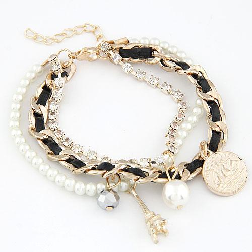Kette gewebte Armbänder, Zinklegierung, mit Wollschnur, goldfarben plattiert, Armband  Bettelarmband, schwarz, frei von Blei & Kadmium, 170mm, verkauft per ca. 6.69 ZollInch Strang