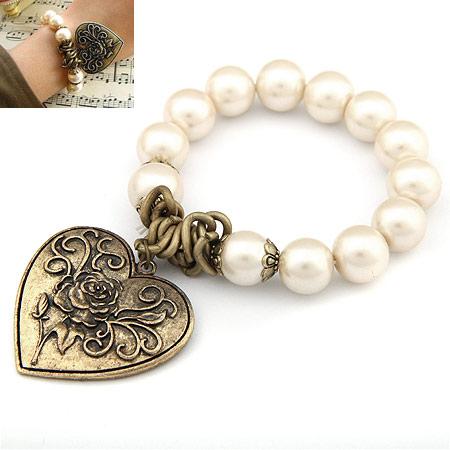 Glas Perlen-Armband, Zinklegierung, mit Glasperlen, Herz, antike Bronzefarbe plattiert, Armband  Bettelarmband, frei von Blei & Kadmium, 38mm, verkauft per ca. 6.69 ZollInch Strang