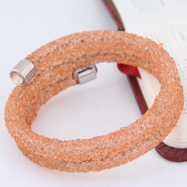 Gitter Rohr Armband, Zinklegierung, mit Strass, Platinfarbe platiniert, frei von Blei & Kadmium, 65x13mm, Innendurchmesser:ca. 65mm, verkauft per ca. 8 ZollInch Strang