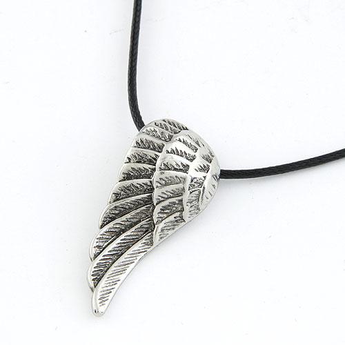 Männer Halskette, Titanstahl, mit Gewachste Hanfschnur, Flügelform, Schwärzen, frei von Blei & Kadmium, 400x38x17mm, verkauft per ca. 15.75 ZollInch Strang