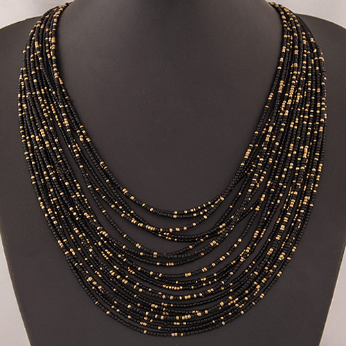 Glasperlen -Halsketten-, Zinklegierung, mit Glas-Rocailles, goldfarben plattiert, Multi-Strang, schwarz, frei von Blei & Kadmium, 420x70mm, verkauft per ca. 16.54 ZollInch Strang