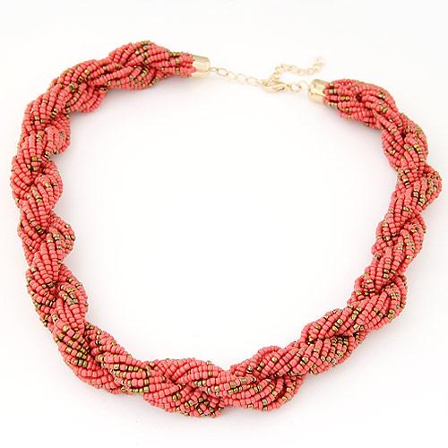 Glasperlen -Halsketten-, Zinklegierung, mit Glas-Rocailles, goldfarben plattiert, Kumihimo, hellrot, frei von Blei & Kadmium, 450x20mm, verkauft per ca. 17.72 ZollInch Strang