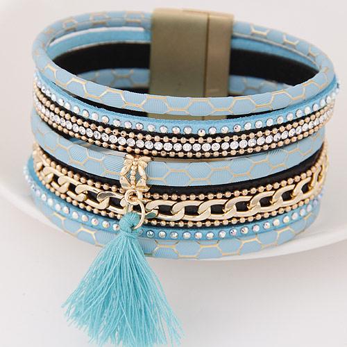 Slake Armband, Zinklegierung, mit Kuhhaut, QuasteTroddel, goldfarben plattiert, mit Strass, blau, frei von Blei & Kadmium, 175x35mm, Innendurchmesser:ca. 65mm, Länge:ca. 6.89 ZollInch, verkauft von setzen