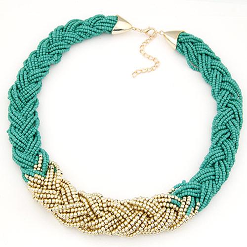 Glasperlen -Halsketten-, Zinklegierung, mit Glas-Rocailles, goldfarben plattiert, frei von Blei & Kadmium, 25mm, verkauft per ca. 16.54 ZollInch Strang
