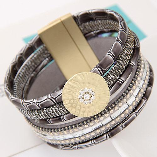 Slake Armband, Zinklegierung, mit PU Leder, goldfarben plattiert, frei von Blei & Kadmium, 175x35mm, verkauft per ca. 6.5 ZollInch Strang