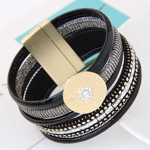 Slake Armband, Zinklegierung, mit PU Leder, flache Runde, goldfarben plattiert, mit Nietstollen, schwarz, frei von Blei & Kadmium, 175x35mm, verkauft per ca. 6.89 ZollInch Strang