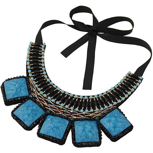 Kragen Halskette, Zinklegierung, mit Ripsband & Glas-Rocailles & Harz, goldfarben plattiert, mit Strass, frei von Blei & Kadmium, 400mm, verkauft per 15.75 ZollInch Strang